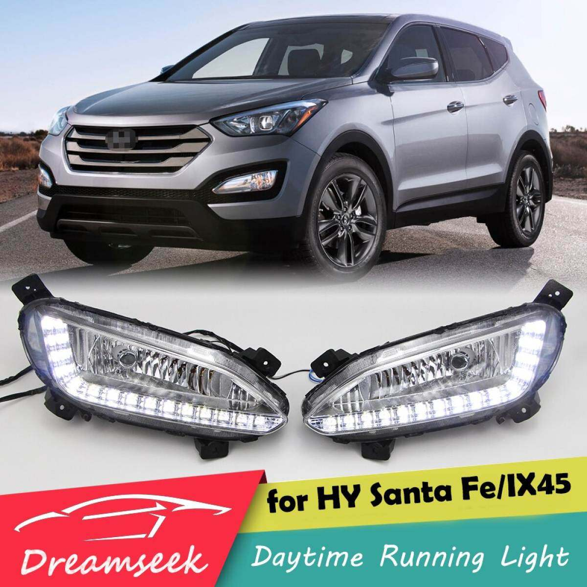 Led Drl For Hyundai Santa Fe Ix45 2013 2014 2015 Daytime Running Light Fog Lamp Single Hole Lazada