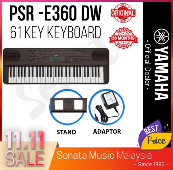 *Crazy Sales Promotion* YAMAHA PSR-E360 DW 61-Keys Portable Keyboard Package C Free Yamaha Adapter and Book Rest (PSRE360DW / PSR E360 DW / PSR360 / PSR 360 ) Malaysia