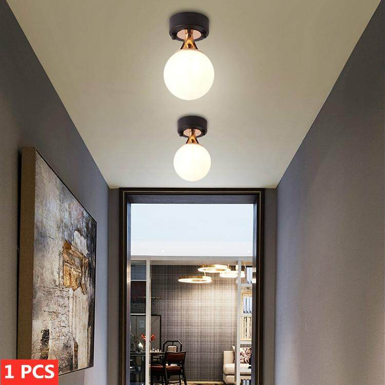 LED Round Ball Ceiling Lamp Metal Ceiling Light Indoor Corridor Porch Balcony Decoration Lamps (D12*H19cm)
