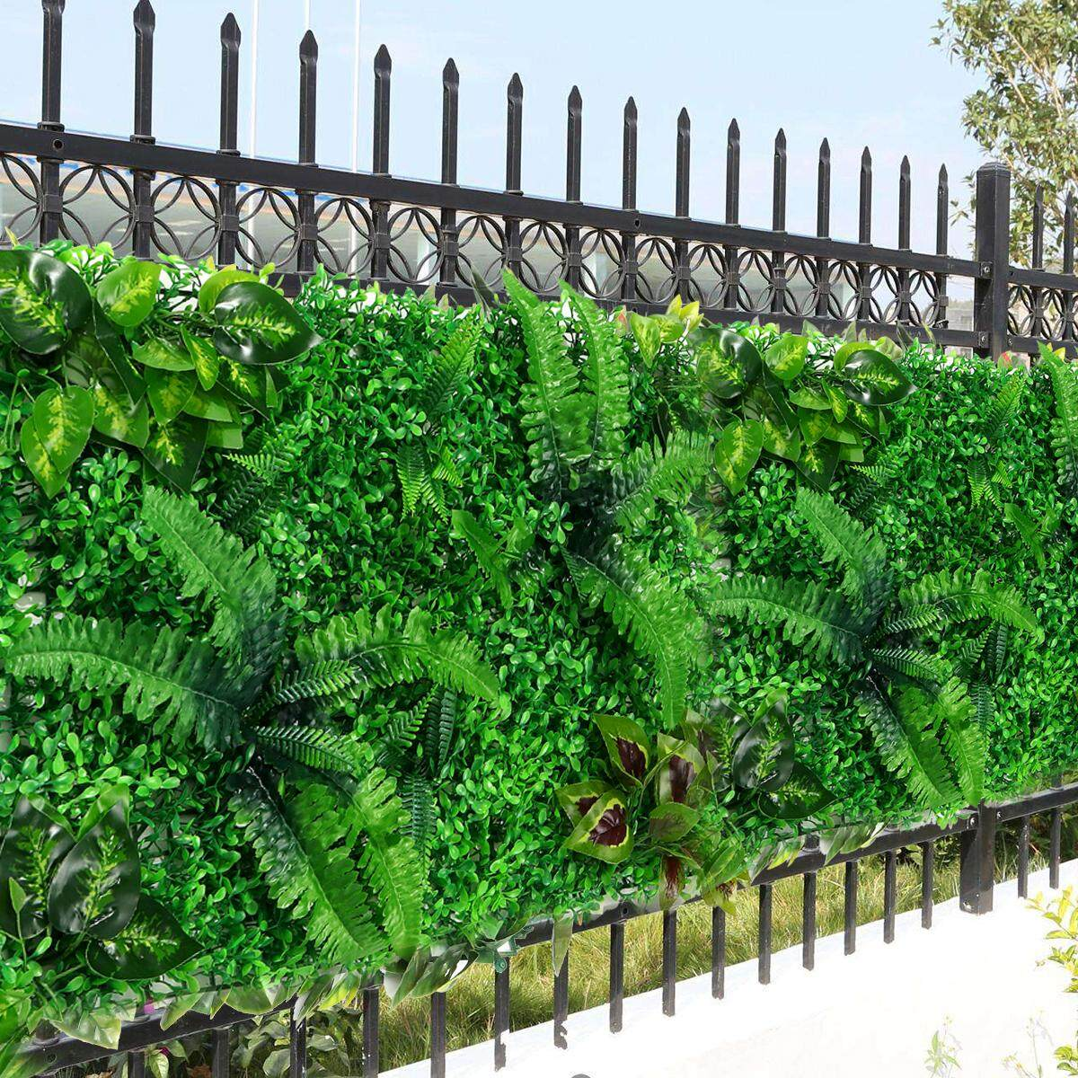 Artificial Topiary Hedges Panels Plastic Faux Shrubs Fence Mat Greenery Wall Backdrop Decor Garden Privacy Screen Fence Deep Green Lazada