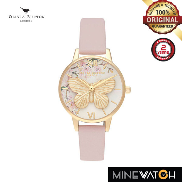 Pretty Blossom 3D Butterfly Vegan Rose & Gold 30mm Womens Watch | OB16EG125 Malaysia