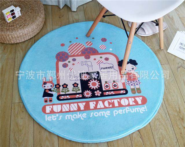 Xintoch Stitch Carpet Kuromi Round Plush Rug Toys Living Room Bathroom Waterproof Non-slip Flannel For Kids