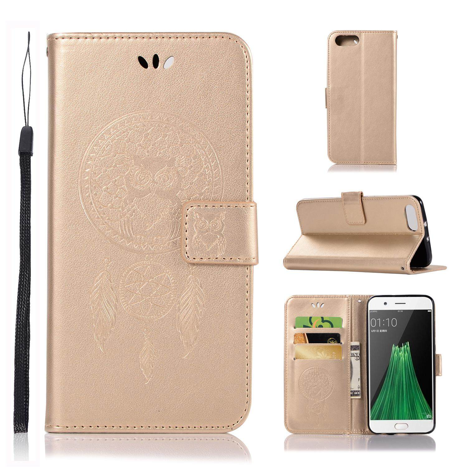Luxury For Oppo R11 Casing , 3d Owl Embossing Leather Folio Flip Case Cover By Life Goes On.