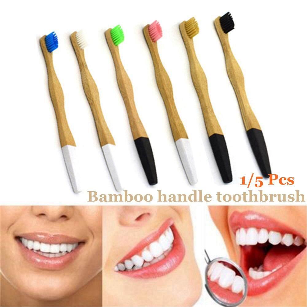 1/5 Pcs Hot New Environmental Protection Home&Living Wood Handle Dental Health Soft Medium Bristle Bamboo Toothbrush Oral Hygiene