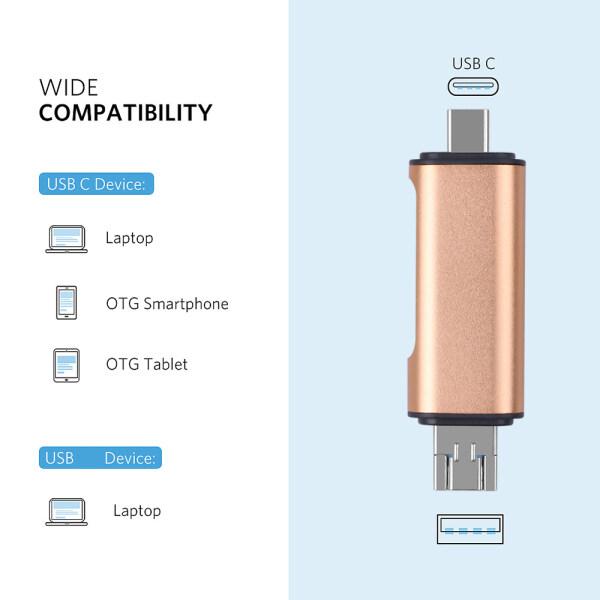 Bảng giá Đầu Đọc Thẻ OTG 5 Trong 1 Loại C Với Giao Diện USB Nữ Cho PC USB2.0 Đọc Bộ Chuyển Đổi Đầu Đọc Thẻ Nhớ TF Cho Máy Tính Phong Vũ