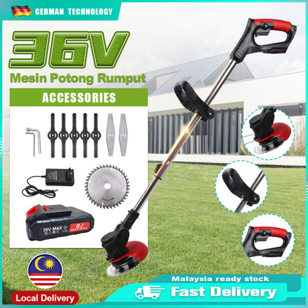 Mesin Potong Rumput 12V/24V/36V Lawn Mower Electric Grass Trimmer with Li-ion Batteries Adjustable Cordless Lawn Mower Kit Set Auto Release String Cutter Rechargeable Lawn Mower Portable Grass Trimmer