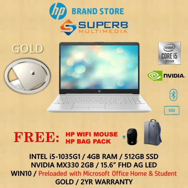 HP 15s-du2027tx Silver / du2028tx Gold Laptop (Intel Core i5, 4GB, 512GB SSD, Nvidia MX330, 15.6 INCH, WIN10, OPI) Malaysia