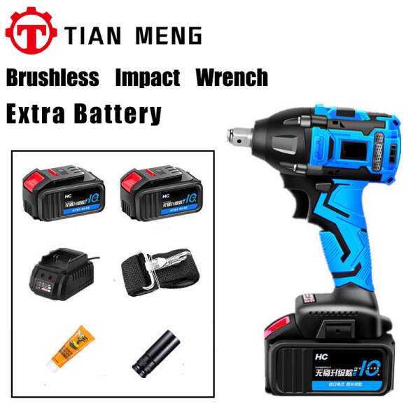 980N.M Electric Brushless Impact Wrench + 1 More Battery 588VF Large Torque Car Angle Hand Rack Incluede Battery And Charger Woodworking Sleeve Wind