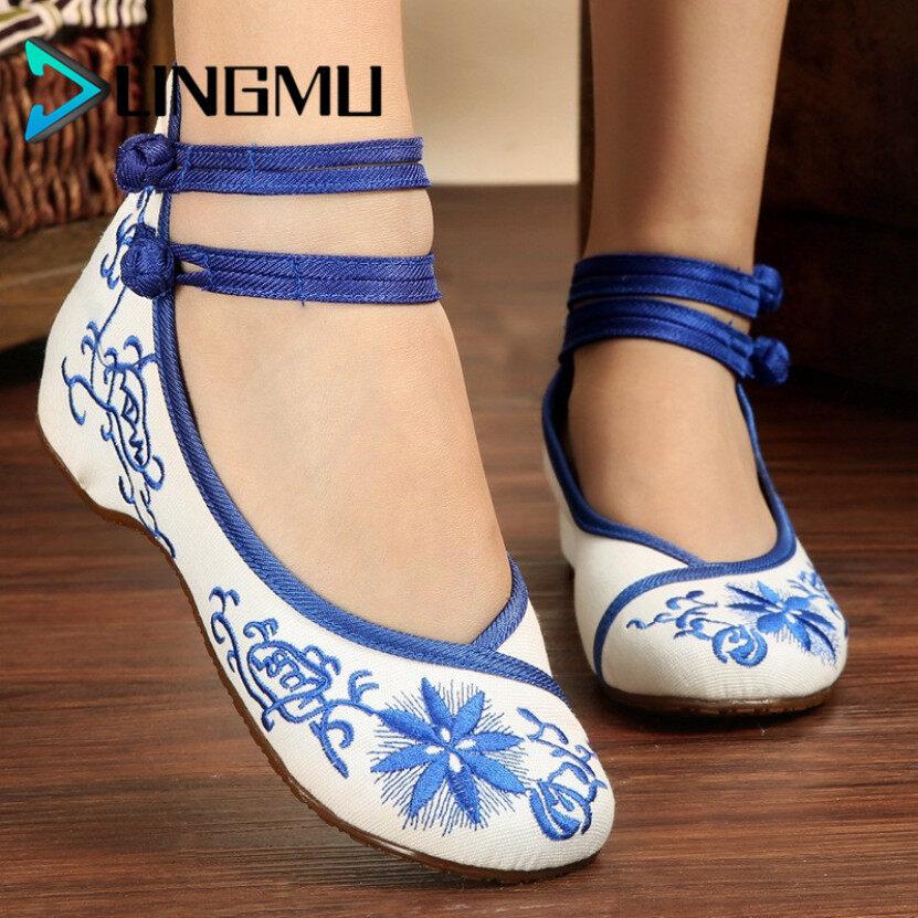Giày Vải LINGMU Old Beijing Cho Nữ, Giày Khiêu Vũ Đế Bằng Mềm Chống Trượt Thời Trang giá rẻ