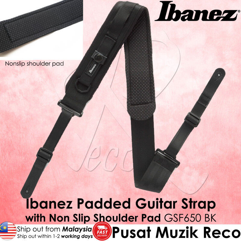 Ibanez GSF650 Powerpad Padded Guitar Strap with Non Slip Shoulder Pad, Black Malaysia