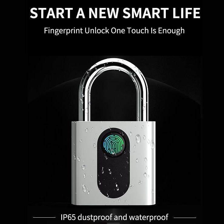 Smart Keyless USB Rechargeable Door Lock Fingerprint Smart Padlock Quick Unlock IP65 Zinc alloy Metal Developing Chip SM0222