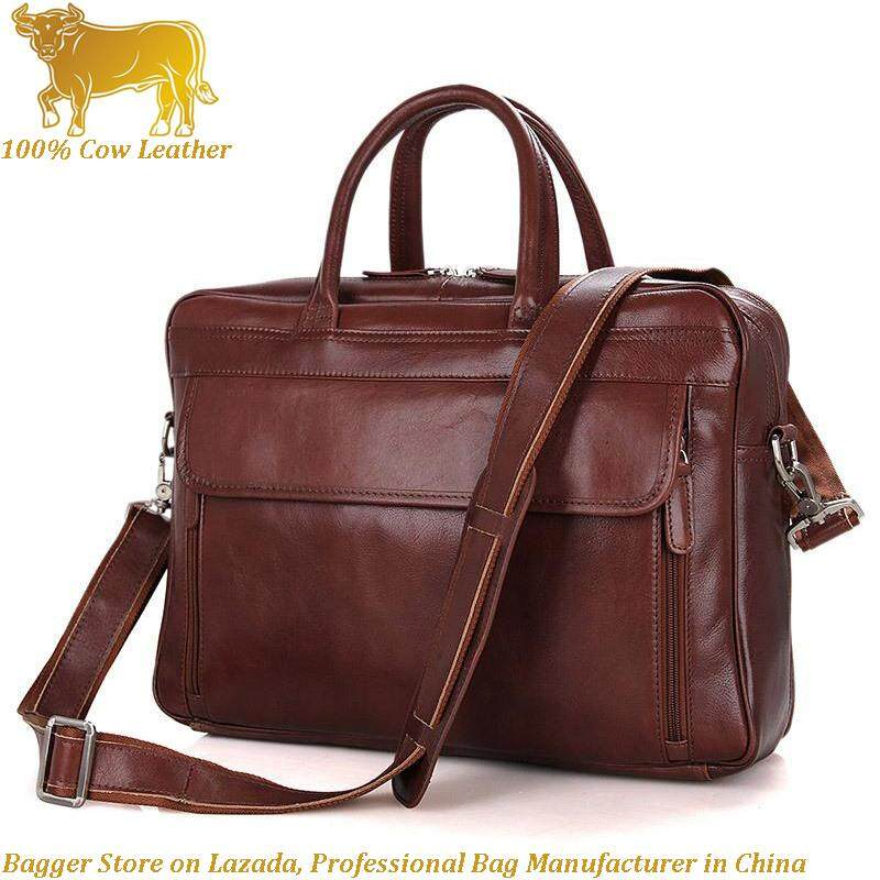 3350538833e Red Brown Genuine Cow Leather Italy Briefcase For Men Laptop Computer  Handbag Business Shoulder Bag Casual