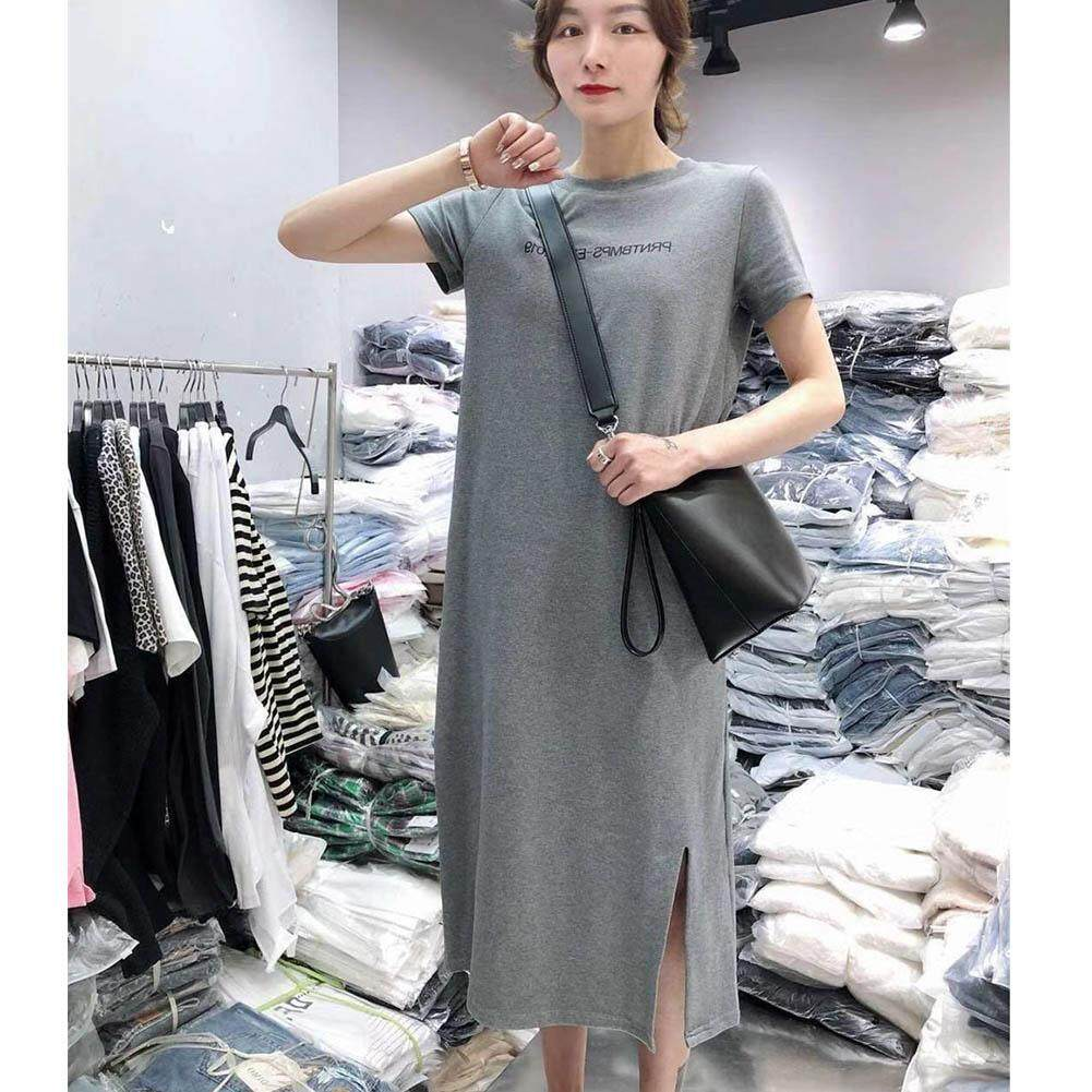 d6185b804d6ef [comebuy88]Women's Casual Summer T Shirt Dresses Short Sleeve Split Dress
