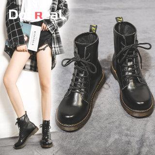 DOSREAL Giày Bốt Thời Trang Cho Phụ Nữ Giày Da Casual Đen Bốt Đến Mắt Cá Đế Mềm Bốt Martin Phụ Nữ Giày Phong Cách Hàn Quốc Giày Đế Bệt thumbnail