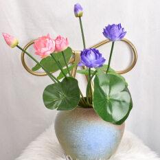 Houseeker Hoa sen nhân tạo để trang trí nội thất CNY Năm mới Trang trí nội thất Lụa 3 Đầu cành hoa sen không có bình