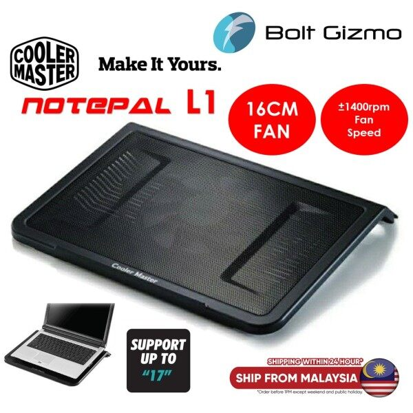 """Cooler Master Notepal L1 Notebook Cooler, Slim & Lightweight, 160mm Fan, Metal Mesh Board, USB Port Extender, Cable Grooves, Up to 17"""" Notebooks Malaysia"""