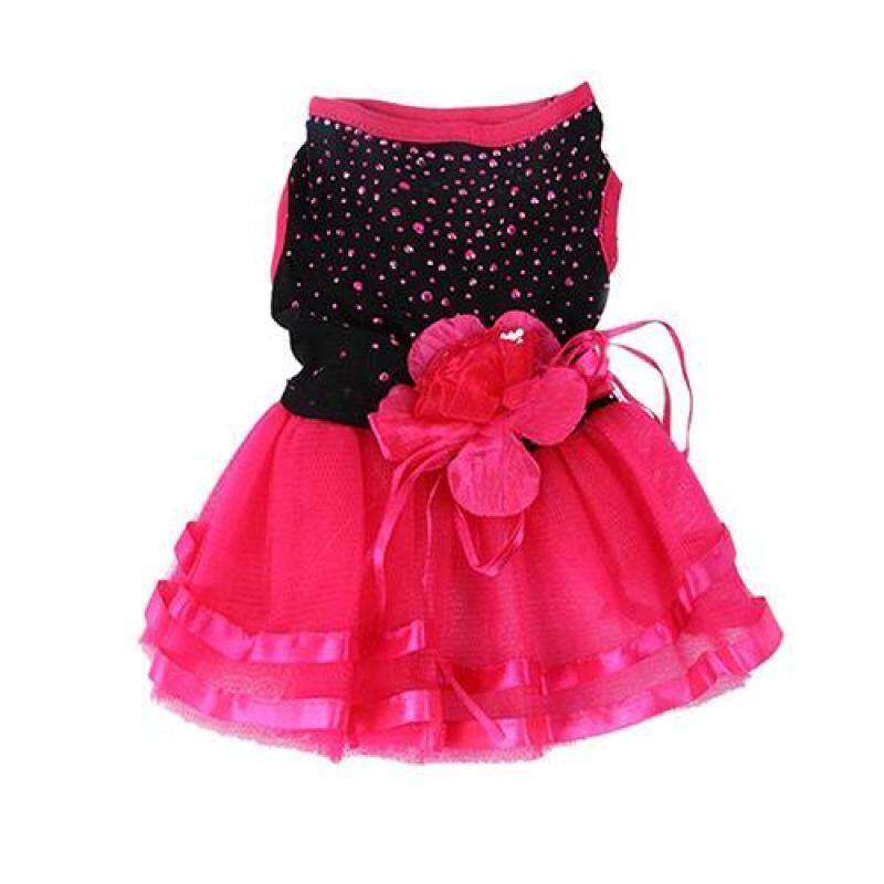 Huanhuang®Họa Tiết Cún Cưng Hoa Hồng Đầm Xòe Lưới Dệt Váy Cún Con Mèo Trang Phục Công Chúa Trang Phục