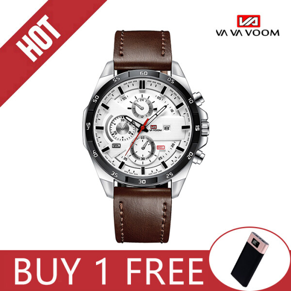 VA VA VOOM Sports Watch for Men Fashion Casual  Quartz Waterproof Watches (Japan movement)   Jam Tangan Lelaki  Calendar Leather Strap Malaysia