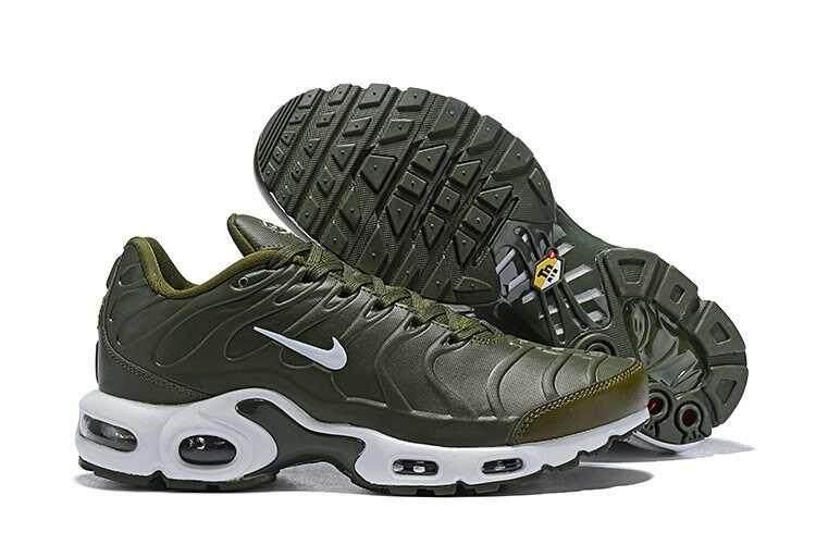 Asli Nike_Air_Max Plus TN SE Pria Sepatu Lari Dapat Benafas Ringan Kasual Sepatu Olahraga Luar Ruangan Sepatu Kets Bantalan Udara Hijau Tentara