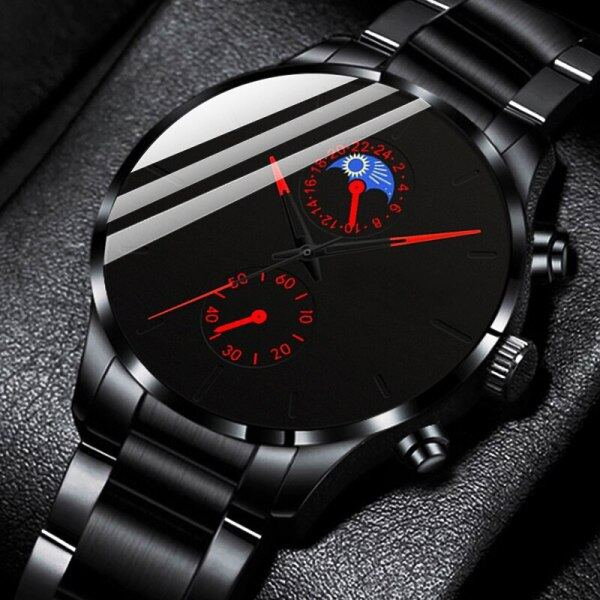POSHI Mens Fashion Watches Black Stainless Steel Classic Quartz Wrist Watch For Men Original Top Brand Luxury Waterproof Watch Malaysia