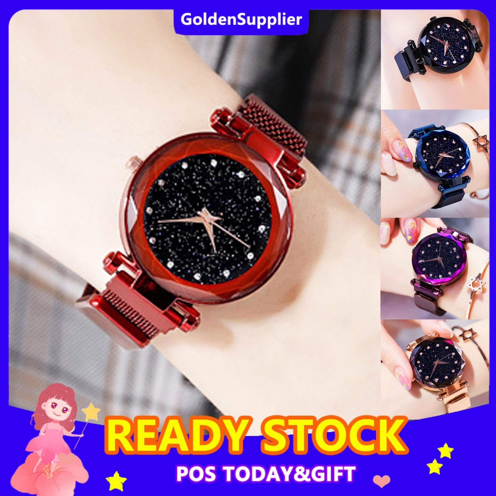 BDAY SALE Fashion Women Watch Casual Diamond Starry Sky Watches Korean Magnetic Stainless Steel Strap Rose Gold Ladies Waterproof Wristwatches Female Clock Gifts Malaysia