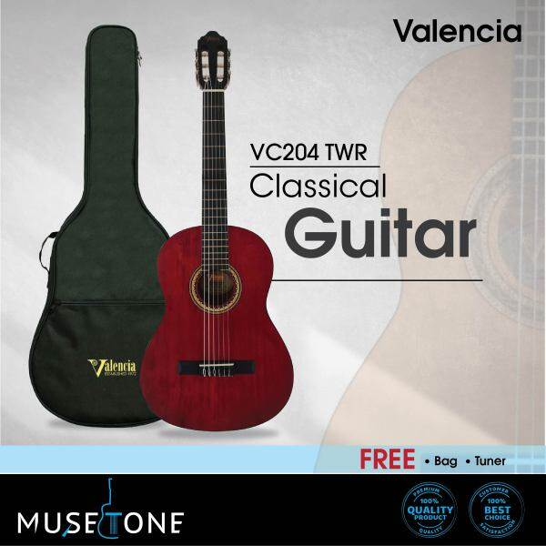 Valencia VC204 4/4 Full Size Classical Guitar for beginner (best student model)  Matt Finish come with bag and Tuner Malaysia