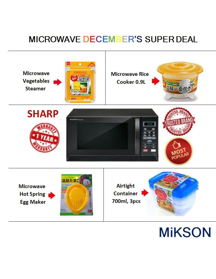 SHARP Microwave Oven R207EK, Multi Function, 20L, 800W (MiKSON December DEAL)