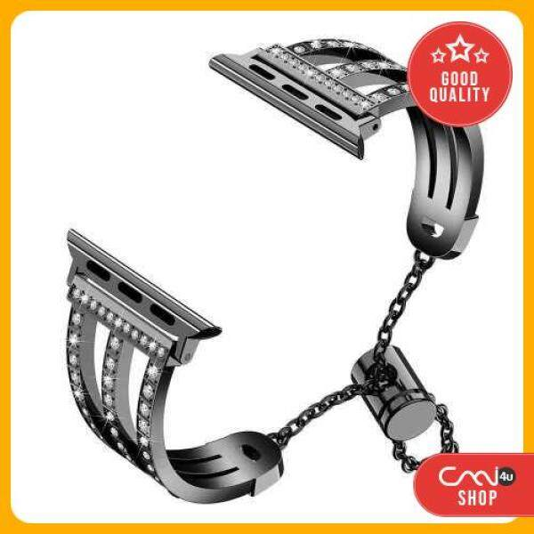 [OFFER] Three-row Diamonds Adjustment Chain Metal Alloy Stainless Steel Strap Watchband Replacement Smart Watch Accessory (Black) Malaysia