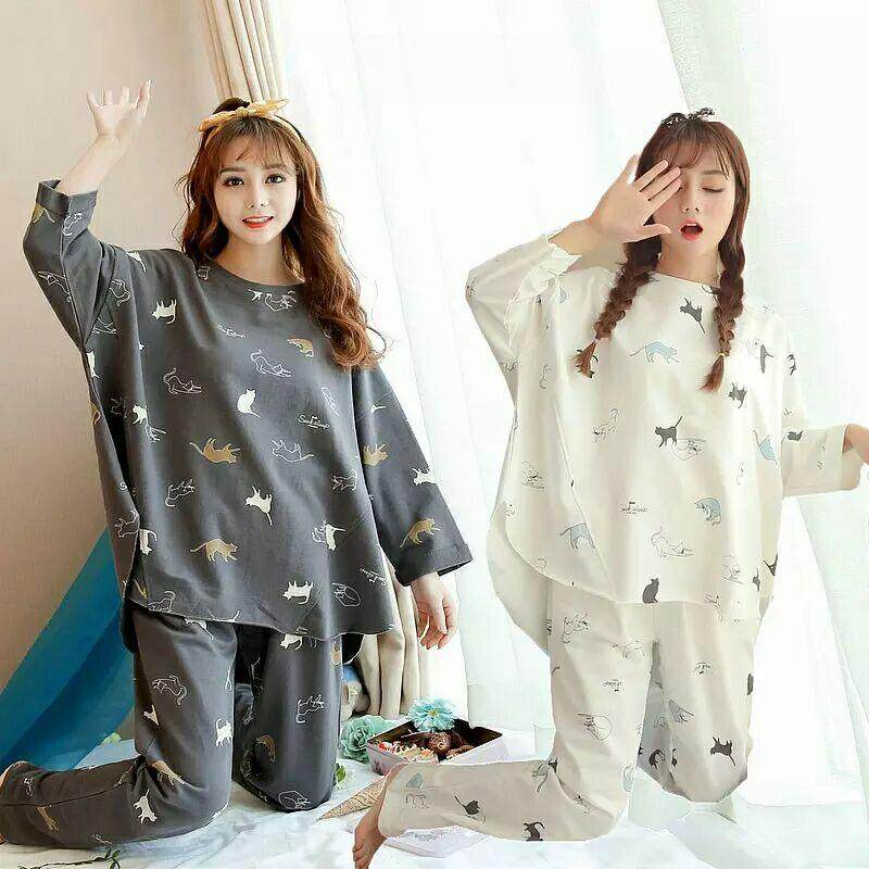 ad4f1fb7371 Women Premium quality Comfortable Comfort Cotton Silk Fabric Long Sleeve  and Long Pant Cute Cat Design