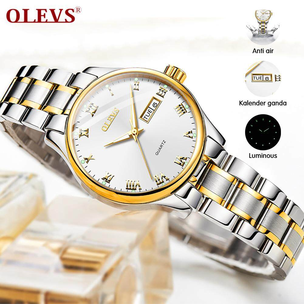OLEVS Womens Analog Quartz Business Watch with Stainless Steel Band, Classic Waterproof Watches Roman Numeral Unique Calendar Date Window Wristwatch Malaysia