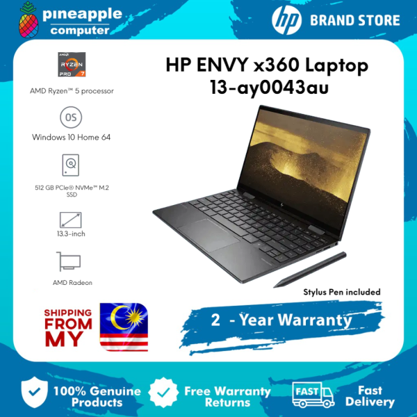 HP ENVY x360 Premium Laptop Series - 13-ay0043au | 13.3 diagonal, FHD (1920 x 1080) | AMD Ryzen™ 5 4500U | 8 GB DDR4-3200 SDRAM | 512 GB PCIe® NVMe™ M.2 SSD | AMD Radeon™ Graphics  | Win 10 Malaysia