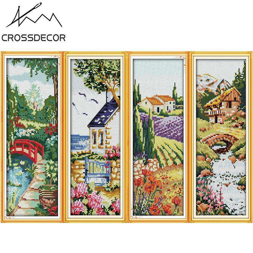 Stamped Cross Stitch Set 11CT Four Seasons Spring Summer Autumn Winter DIY Handmade Embroider Needlework  Pre-Printed On the Cloth Home Room Decor DMC Complete Kits