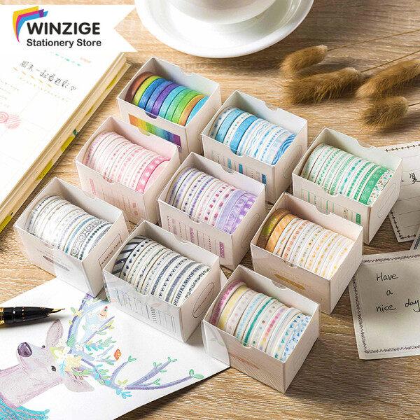 Mua Winzige Một bộ 10 cuộn băng dán Washi in hình đơn giản nhiều màu sắc kích thước 5*2mm dùng trang trí sổ lưu niệm, nhật ký, gói quà