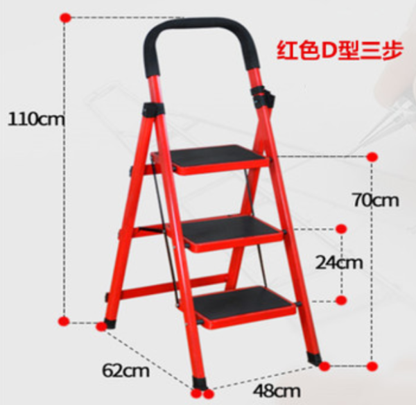 3-Tier Lightweight Steel Step Ladder with Hand Grip Folding Ladder Tangga Lipat Multifunction 3 TIER heavy duty double sided wide steps household rack warehouse file aluminium