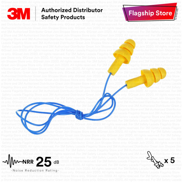 3M 340-4004 E-A-R™ UltraFit™ Reusable Earplugs With Plastic Cord / NRR 25 dB/ Individually packaged/ Made in USA/ EP_ PSD_