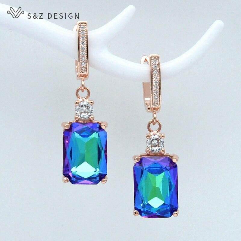 b24888407b7e S y Z nuevo cuadrado de cristal de imitación 585 oro rosa pendientes  temperamento personalidad para