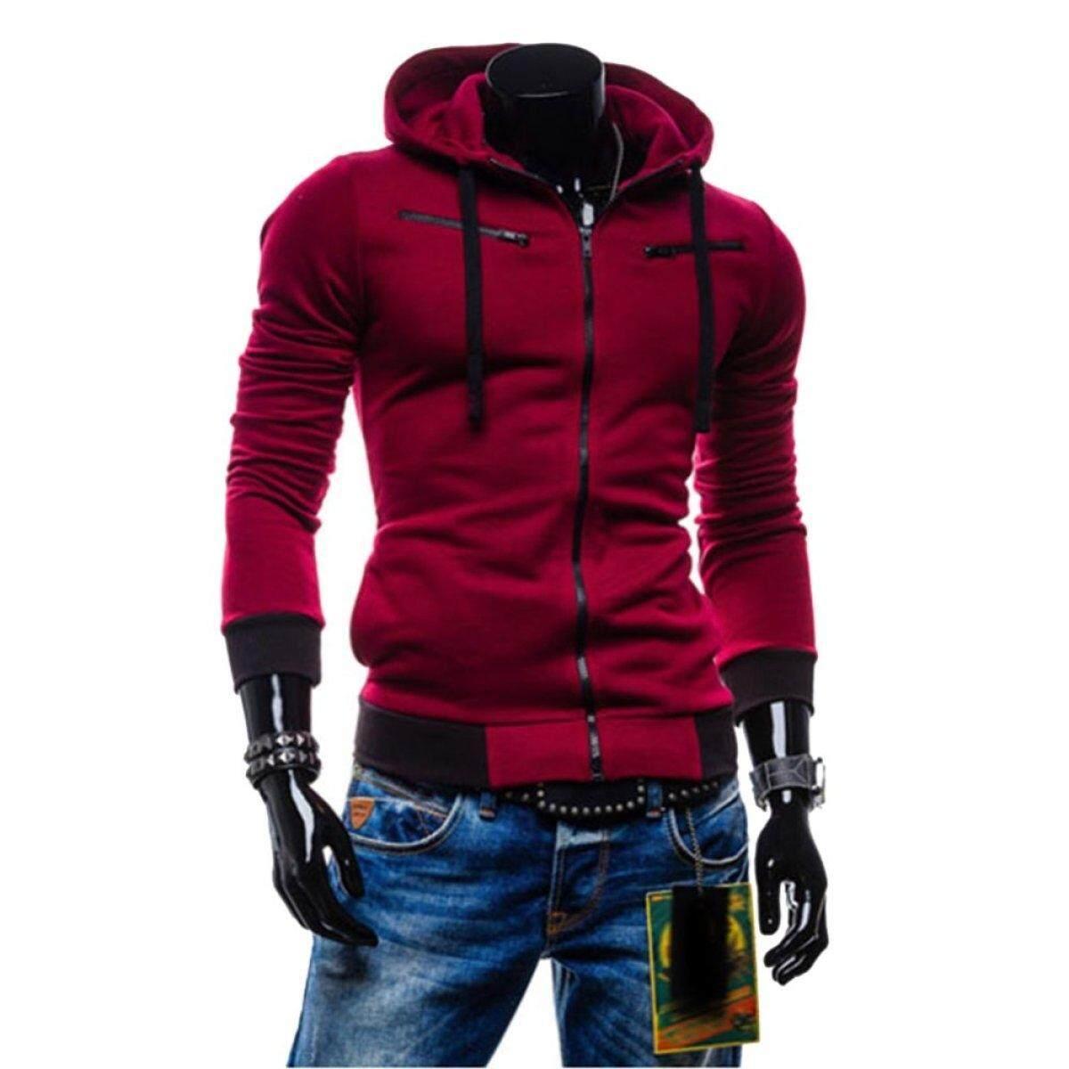 Cocotina Men Slim Fit Sweater Casual Zip Hooded Jacket Hoodie Coat (Wine Red)