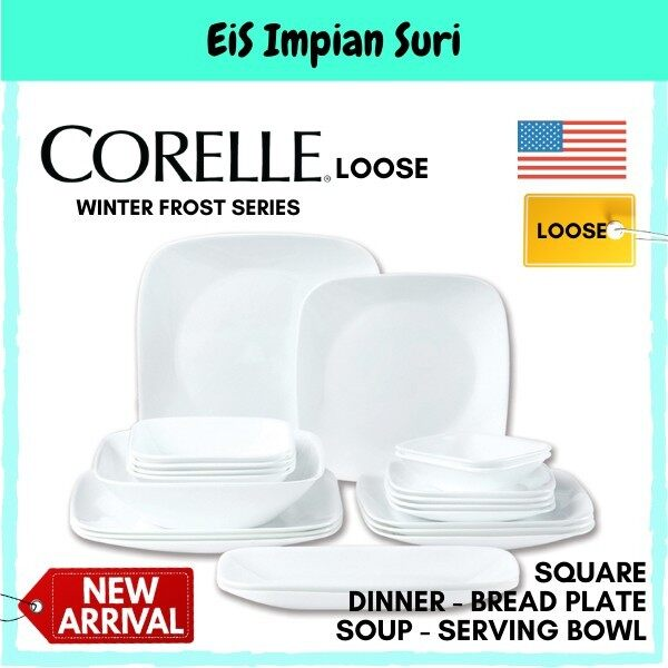 Corelle Loose Winter Frost White Square (Dinner Plate- Luncheon Plate- Bread Plate- Serving Bowl- Bowl- Fish Plate)
