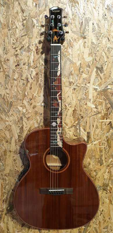 Sqoe SMLT-GS-S High-Quality Solid Cutaway Acoustic-Electric Guitar with Fishman Presys EQ New Malaysia