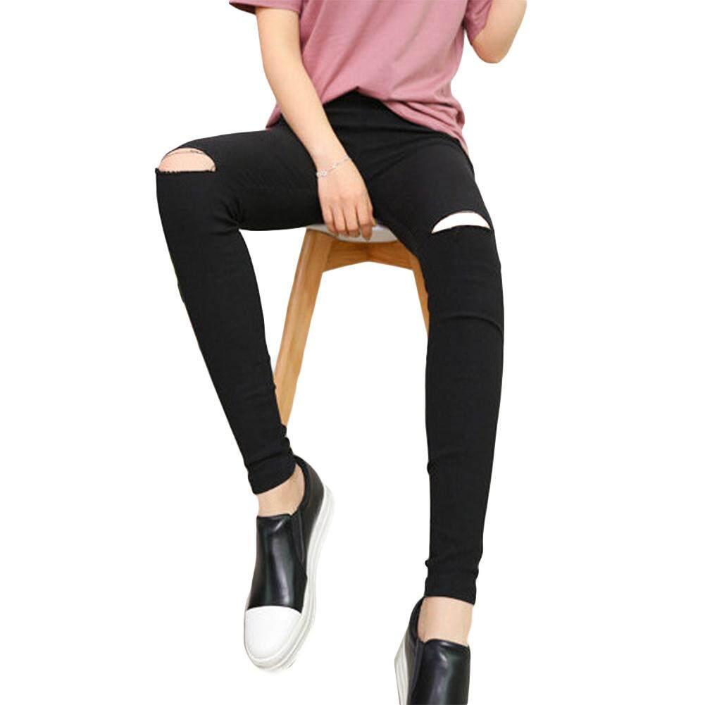 63f5c805c5e9c8 Popular Hollow Out Slim Jeans Women Ripped-holes Pants High Waist Elastic  Pencil Pants Street