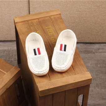 〖Free Shipping〗Quiny เด็กเด็กผู้ชายเด็กชายหนังกลวงขี้เกียจรองเท้าสนีกเกอร์รองเท้าลำลอง