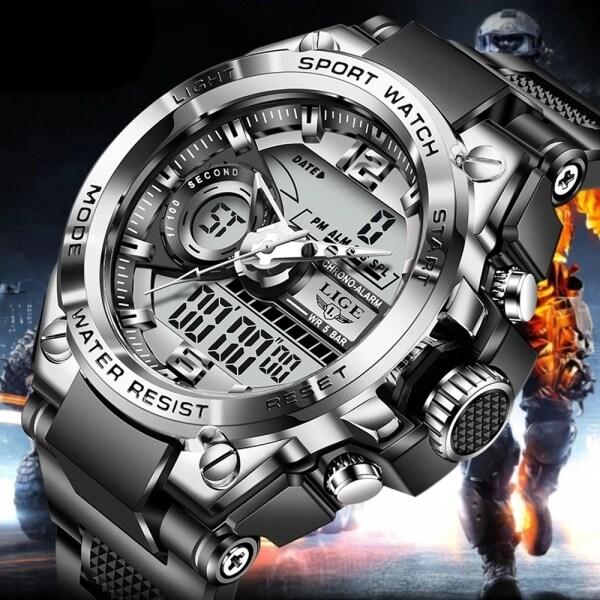 LIGE đồng hồ nam kỹ thuật số 2021 thời trang thể thao chống thấm nước đồng hồ đeo tay dạ quang bán chạy