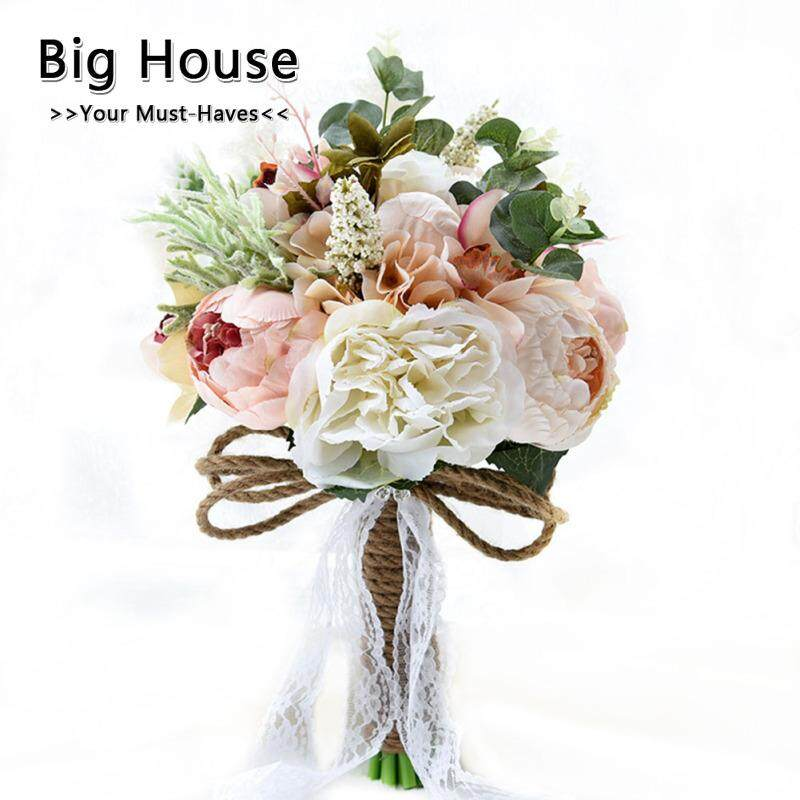 Big House Artificial Peony Rose Flower Bridal Bouquet For Wedding Party Home Decoration