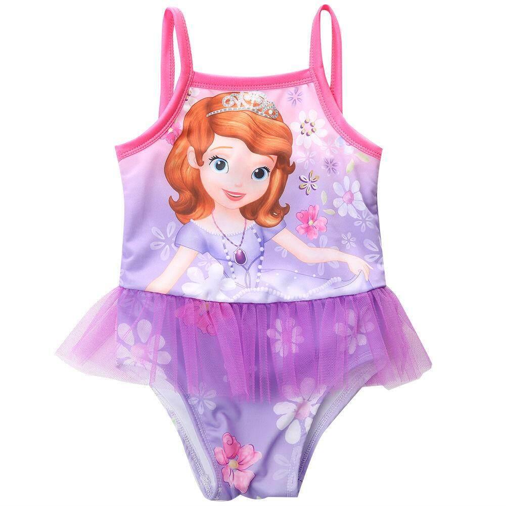 a24ab139f881 2-7Y nuevo modelo lindo del bebé del traje de baño de una pieza con el  patrón de la princesa las muchachas/niños que nadan el juego