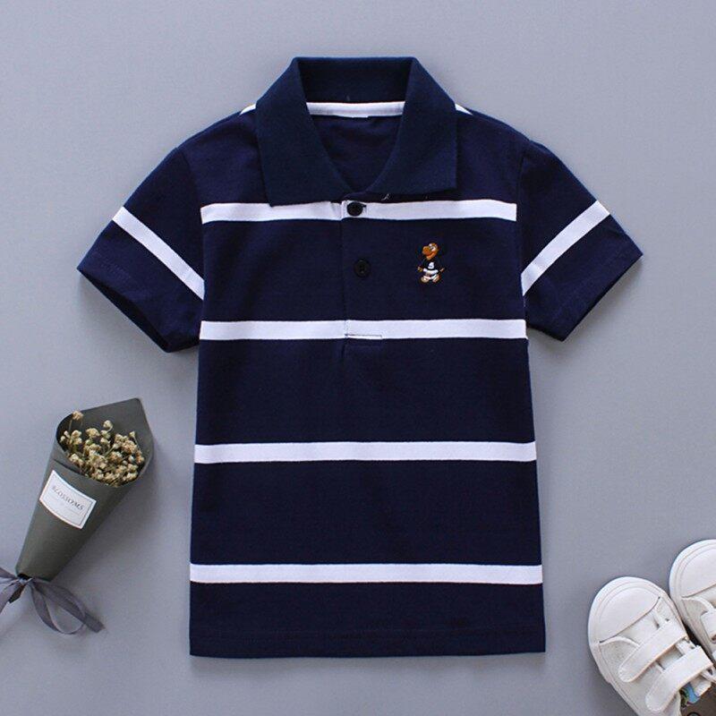 Áo Phông Kẻ Sọc Bằng Cotton Cho Bé Trai Áo Cánh Ngắn Tay Cổ Bẻ Trang Phục Áo Phông
