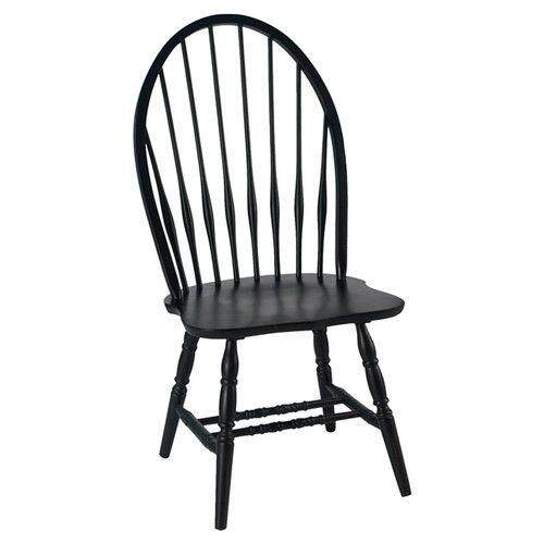 LCL Solid Rubber Wood Dining Chair 41INCH- BLACK -2pcs