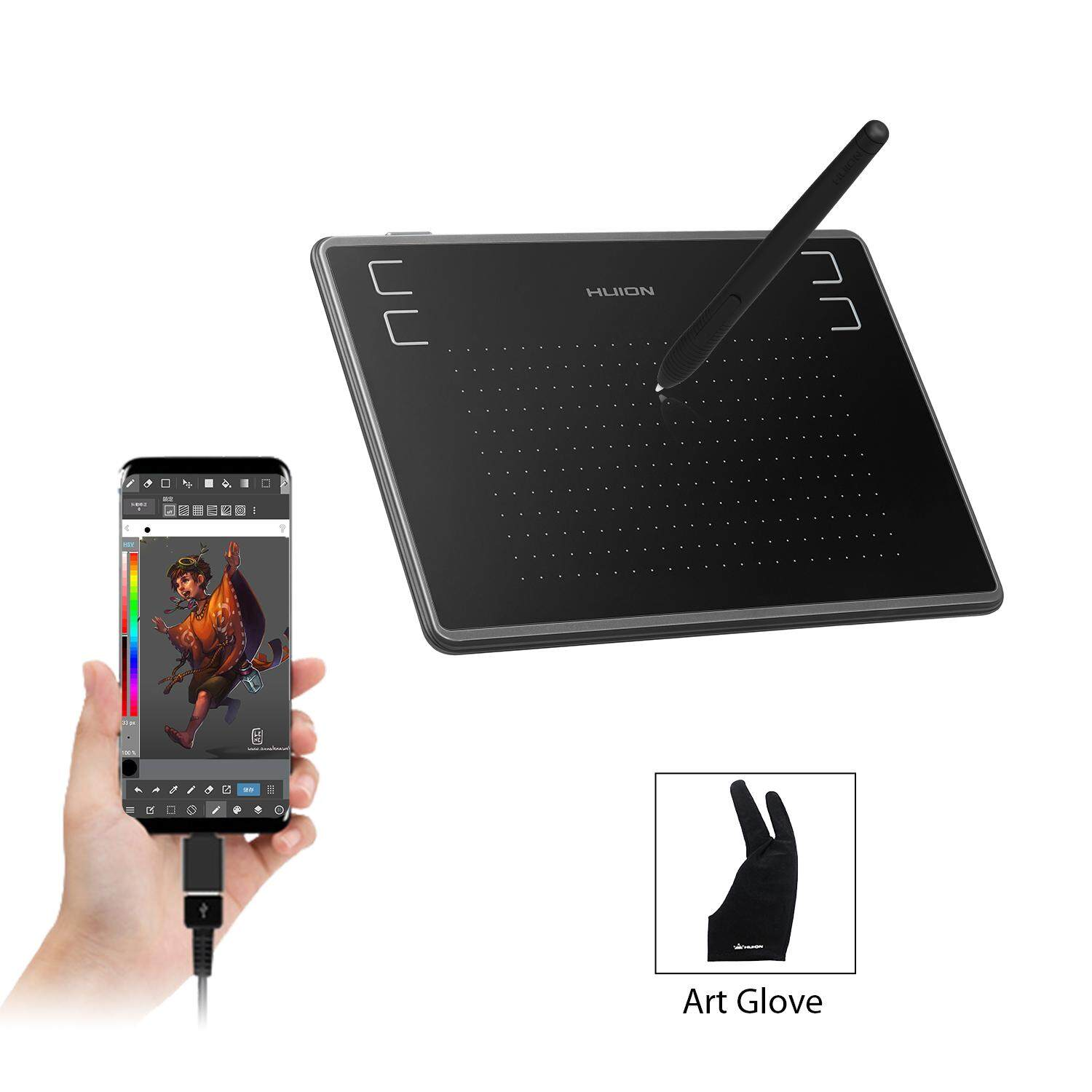 Huion H430P OSU Graphics Drawing Tablet with Glove and 4 Express Keys,  Battery-Free Stylus, Compatible with Mac, PC or Android Mobile