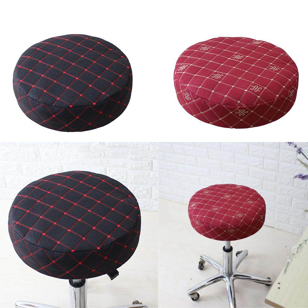 BolehDeals 2 Pack Bar Stool Cover Round Chair Seat Slipcovers Covers Red Black