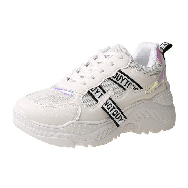 2020 Phụ Nữ Mới Nền Tảng Sneakers Lưới Phụ Nữ Giày Lưu Hóa Chạy Bình Thường Giày Giày Giày Quần Vợt Nữ Dày Màu Vàng Duy Nhất Kích Thước 36-41 giá rẻ