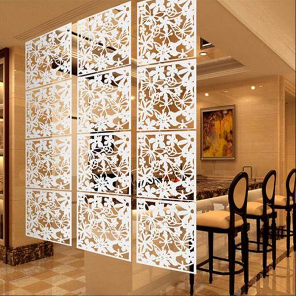 Loviver 4pcs Butterfly Flower Leaves Hanging Screen Curtain Divider Panel White
